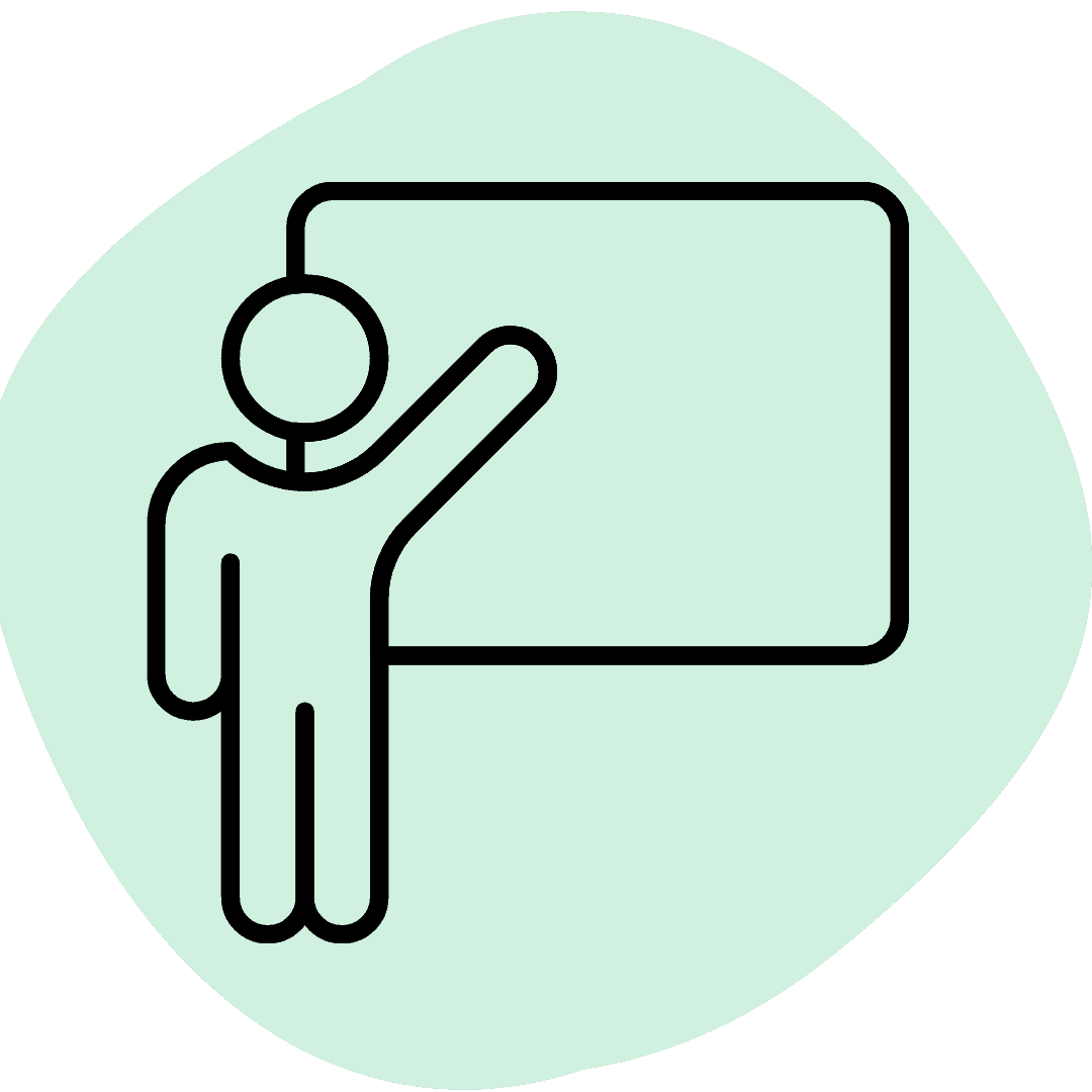 Icon of some teaching on green background