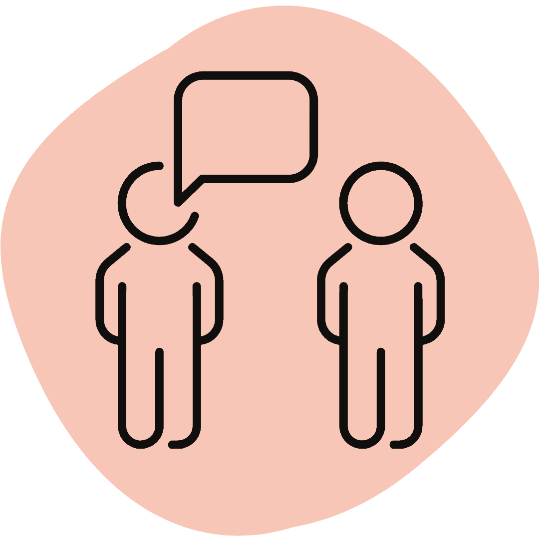 icon of people talking on pink background