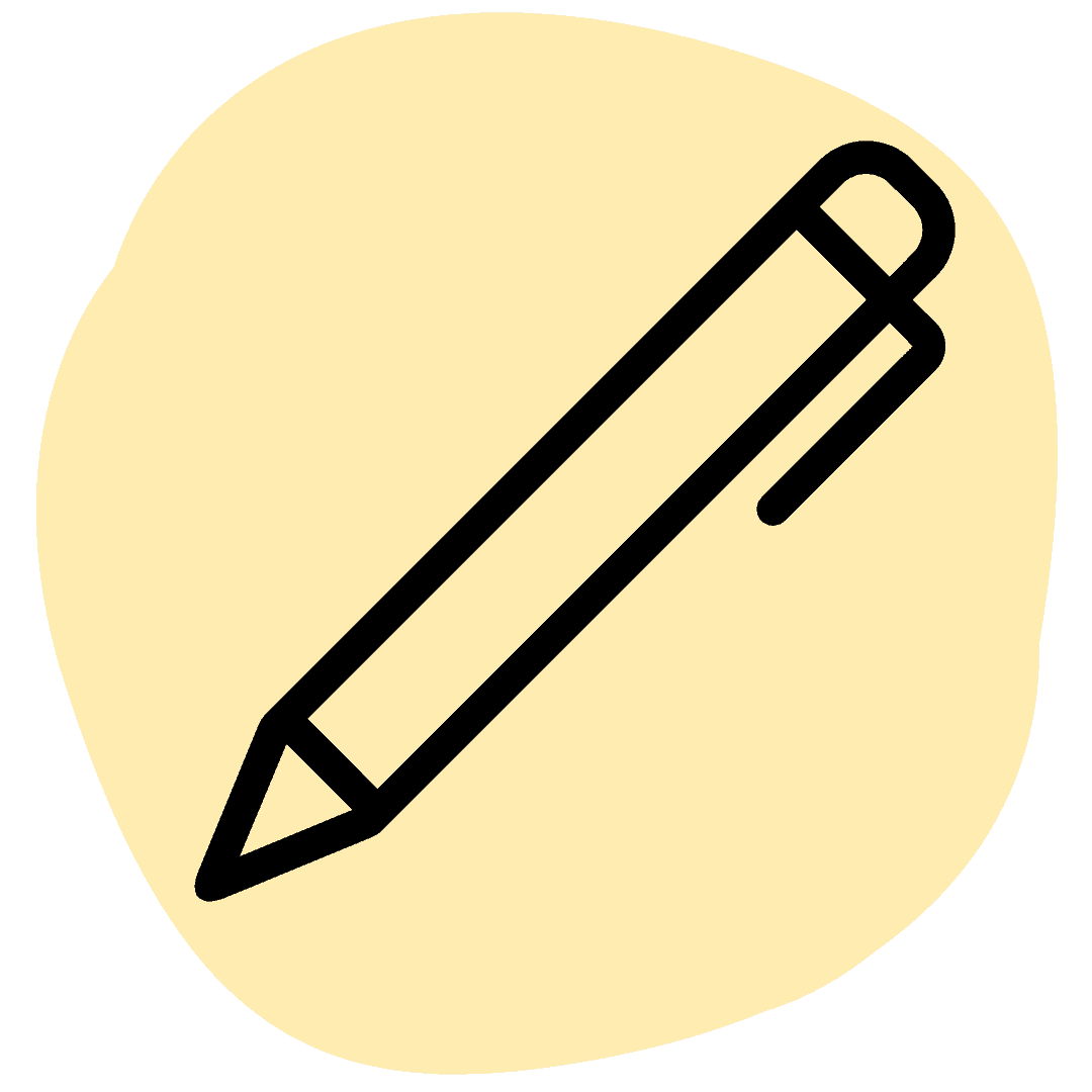 icon of a pen on yellow background